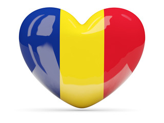 Heart shaped icon with flag of romania
