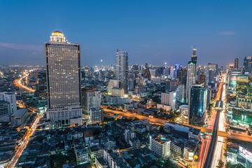Night view of Saphan Taksin bridge in Bangkok, Thailand