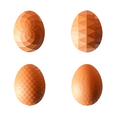 Vector illustration set of eggs in polygonal style. Template can