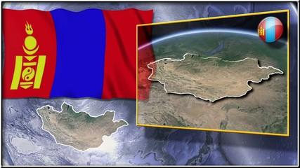 Mongolia flag and map animation
