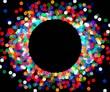 round frame of colored confetti