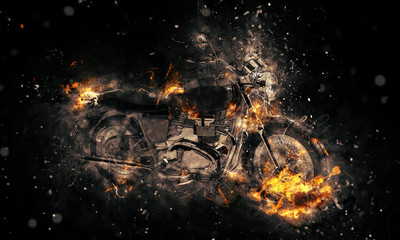 Fiery burning motorbike concept