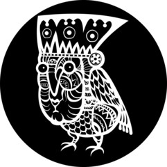 Ethnic bird with woman face totem. Black and white style