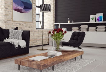 3d Modern living room interior
