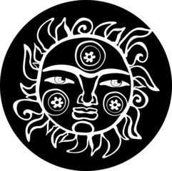 Ethnic sun totem. Black and white style.