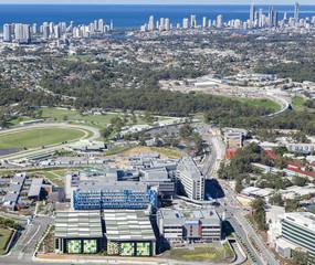 GOLD COAST, AUSTRALIA – JUNE 16: Aerial view of Gold Coast Uni