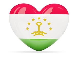 Heart shaped icon with flag of tajikistan