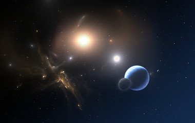 The Extrasolar planet and two stars