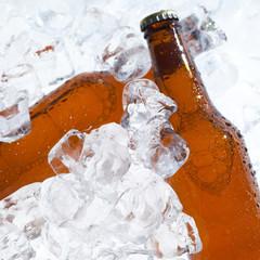 Beer bottles beeing cooled down
