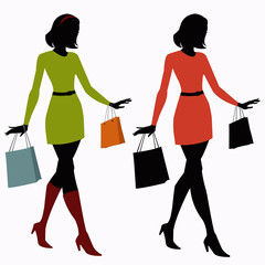 silhouettes of girls with shopping bags