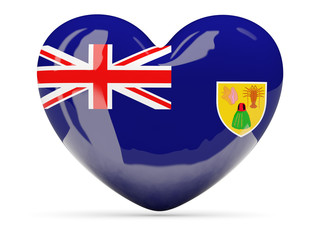 Heart shaped icon with flag of turks and caicos islands