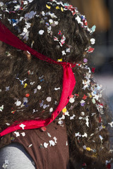 confetti on the head at the carnival