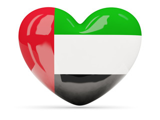 Heart shaped icon with flag of united arab emirates