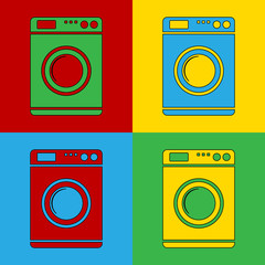 Pop art washing machine simbol icons.