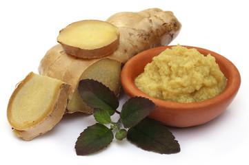 Fresh crushed ginger with holy basil