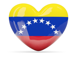 Heart shaped icon with flag of venezuela