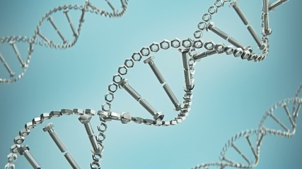 abstract dna contains stack of bolts and nuts