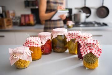 Closeup on jars of pickled vegetables
