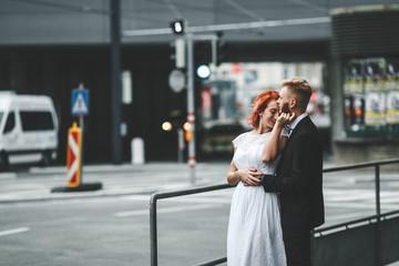 Wedding couple in a futuristic building