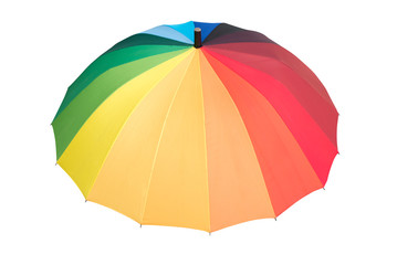 Rainbow colored opened umbrella, isolated on white background