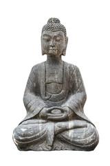 Sitting stone Buddha isolated on white background