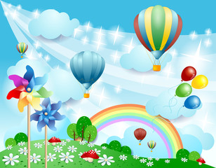 Spring background with balloons and pinwheels