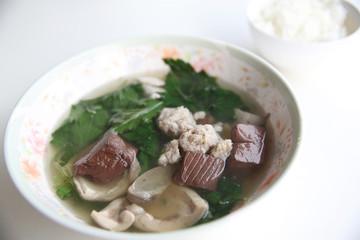 Pork blood soup