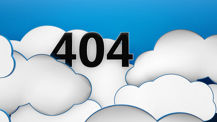 Error 404  god not found clouds blue background