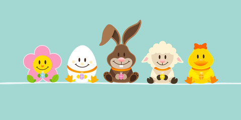 Easter Rabbit & Friends Retro DIN