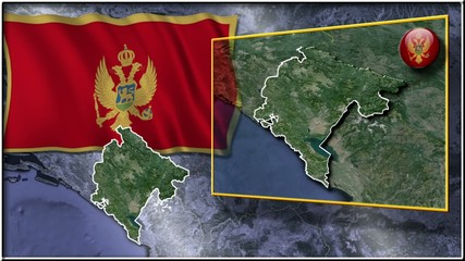Montenegro flag and map animation