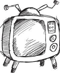 Doodle Sketch Retro Television Vector Illustration Art