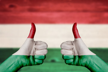 Hungary flag painted on female hands thumbs up