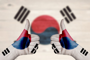 South Korea flag painted on female hands thumbs up
