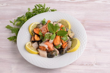 Dish with seafood, shellfish and fish