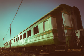 Vintage filtered old train,retro style.