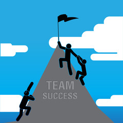 Use Teamwork For Business Success. Vector Illustration