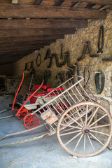 Wooden horse carts in the barn.
