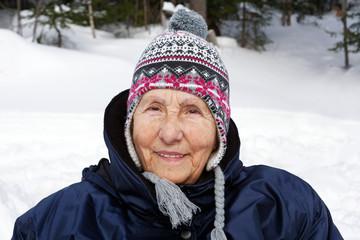 Senior woman with toque
