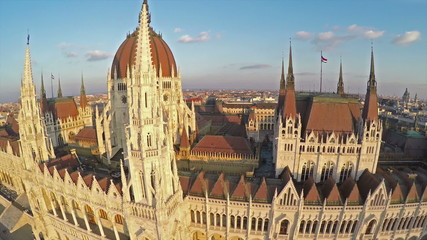 Bird's eye view on Hungarian parliament in Budapest