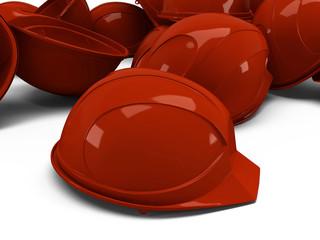 pile of helmets