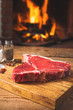 Rustic Fresh steak with spices before throwing a barbecue with a
