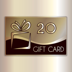 Vector abstract gift card for twenty in gold and beige colors