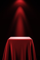 Pedestal with silk cloth and spot light