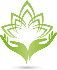 Logo, Zwei Hände, Blätter, Blume, Heilpraktiker