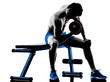 man exercising fitness weights Bench Press exercises silhouette - 79095411