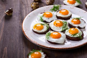 quail egg canapes