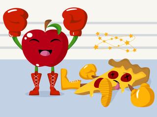 Apple versus pizza, healthy lifestyle concept