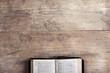 Leinwandbild Motiv Bible on a wooden desk