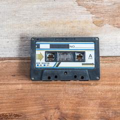 Cassette tape on wood board