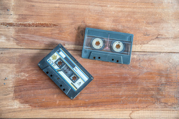 Cassette tape on wood board